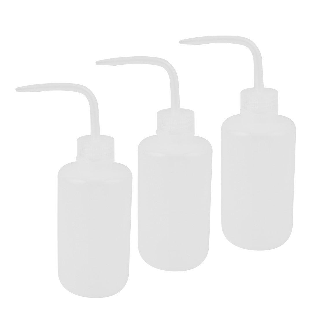 sourcingmap 3 Pcs 250mL Bent Tip White Plastic Oil Liquid Container Squeeze Bottle SYNCELEC001869