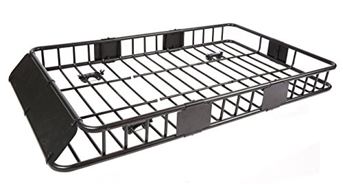 7BLACKSMITHS Black Roof Cargo Basket Carrier Rack with 64
