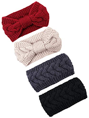 Elcoho 4 Pieces Cable Knit Headbands Crochet Head Band Braided Winter Ear Head Wraps for Women Girls,2 Style (Purplish red, rice white, dark grey, black-1) (Piece 2 Headband)