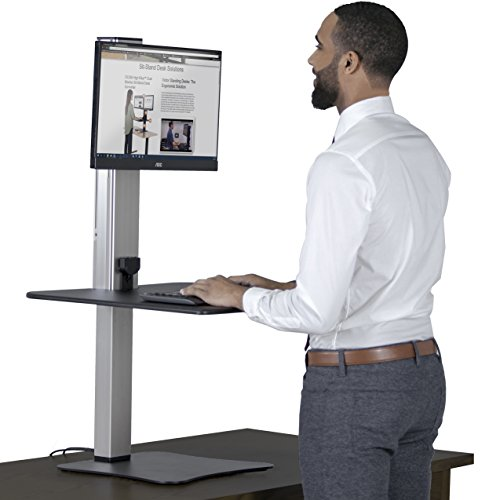 Victor DC400 High Rise Collection 1 Monitor Electric Sit Stand Desk Converter with Easy Tap Technology - Turn Your Desk into a Standing Desk with a Single Push of a - Your Push