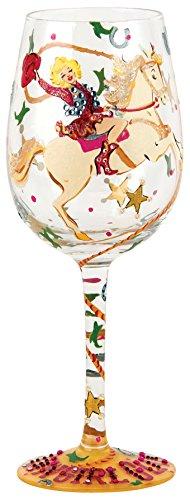 Santa Barbara Design Studio Lolita Love My Wine Hand Painted Glass, Cowgirl Glam