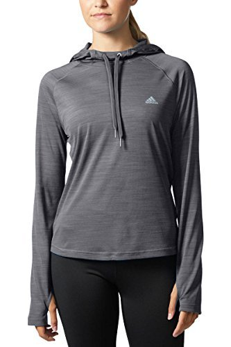 - adidas Women's Climalite Long Sleeve Performance Hoody (Dark Grey, Large)