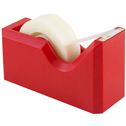 JAM PAPER Colorful Desk Tape Dispensers - Red - Sold Individually