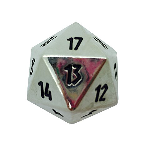 Countdown Metal (Norse Foundry Chainmail Silver Countdown 25mm Full Metal D20 Dice Life Counter TCG CCG)