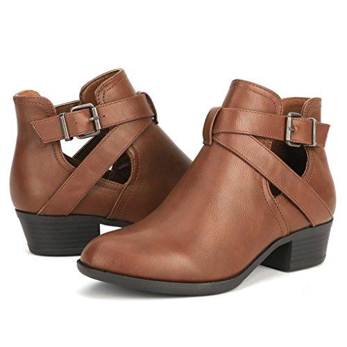 TESENMA Chelsea Boots for Women Chunky Heels Buckle Ankle Boot Comfortable Work Booties by TESENMA