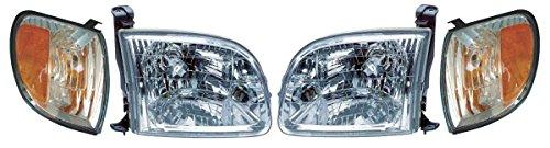 Headlights Toyota Truck - Prime Choice Auto Parts KAPTY8293KIT4 Set of 2 Headlights and 2 Corner Lights