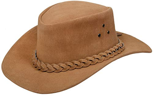 Australian Unisex Tan Western Style Cowboy Outback Real Suede Leather Aussie Bush Hat M