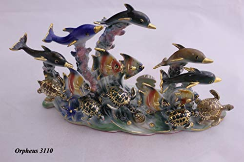 Feng Shui Ocean with Dolphins, Turtles and Fishes - Hand Crafted and Decorated Chinese Porcelain, Figurine 11003 (Dolphin Porcelain Figurines)
