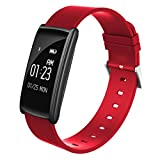 HDWY Smart Bracelet With Color Screen Step Counter Calorie Sleep Monitor Distance Sport Watch Walking Running App For Woman And Man (Color : Red)