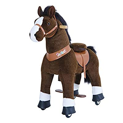 PonyCycle Official Classic U Series Ride on Horse Toy Plush Walking Animal Chocolate Brown Horse Medium Size for Age 4-8 U421: Toys & Games