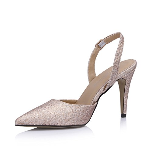 Single women new summer products wedding bride pointed women shoes large golden sands after the high-heel shoes Pale Gold 3Caolgc