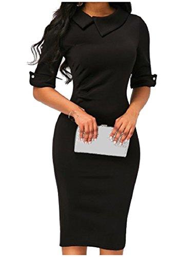 Nero Lavoro Metà Elegante Coolred Vestito Donne D'ufficio Delle Bavero Metà Manicotto Bodycon Il 7wxHABqSA