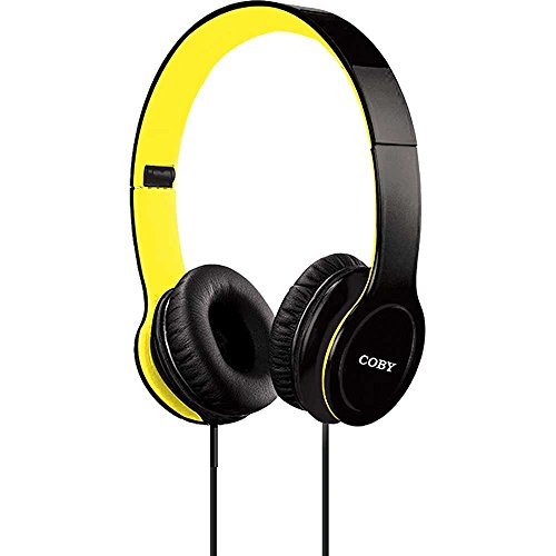 Coby CVH-801-YLW Folding Stereo Headphones, Yellow ()