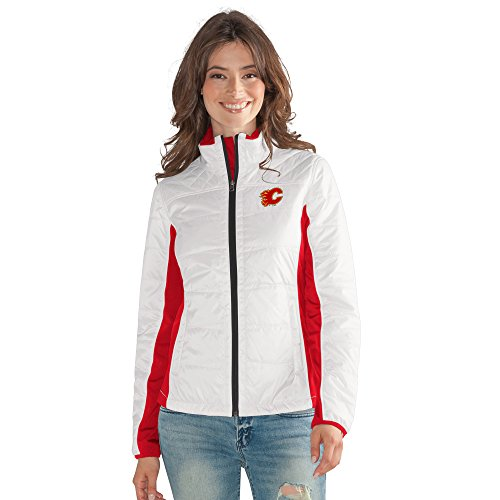 GIII For Her NHL Calgary Flames Women's Grand Slam Full Zip Jacket, X-Large, White