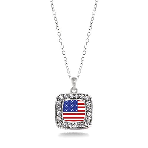 American Flag Charm Classic Silver Plated Square Crystal (Silver Plated Square Necklace)