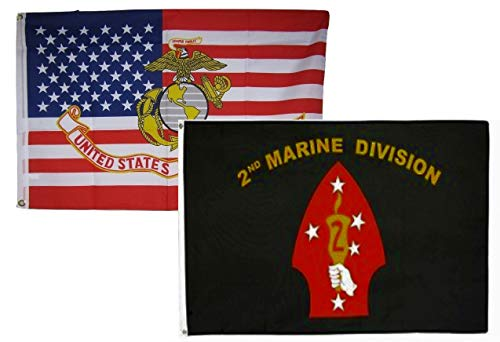 ALBATROS 3 ft x 5 ft Set USMC USA EGA with 2nd Marine Division Flags Flag for Home and Parades, Official Party, All Weather Indoors -