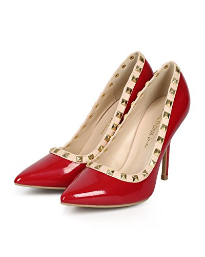 Patent Stiletto Stud Pointy Patent Toe Women Pump Single Sole CH60 Red YSvqPnP