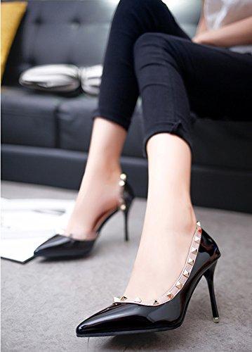 Minetom Cerrado Sandalias Asakuchi Remache Mujer Estiletes De Moda Punta Estrecha Zapatos De Tacón Altos Pumps Stiletto Elegante Boda Fiesta Clásicas Negro