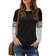 LAISHEN Women's Leopard Print Patchwork Color Block Tunic Round Neck Long Sleeve T Shirts Striped...