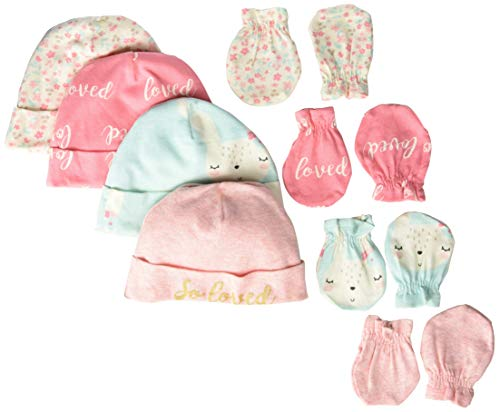 - Gerber Baby Girls 8-Piece Organic Cap and Mitten Set, bunny love, 0-6 Months
