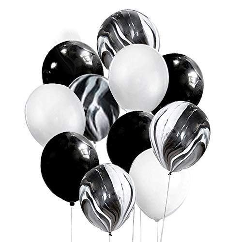 Mayen 30 Pcs 12 Inch Black and White Latex Balloons Set, Black Agate Marble Tie Dye Swirl Balloons for Birthday Party Decorations Baby Showers Bachelorette Party Supplies Balloon Garland Arch Kit