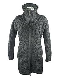 West End 100% Irish Merino Wool Double Collar Aran Knit Coat Knitwear