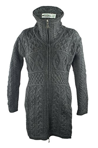 100% Irish Merino Wool Double Collar Aran Knit Coat, Charcoal, Small