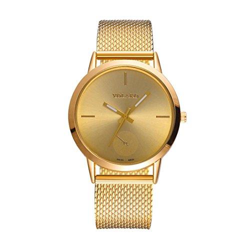 (Jaylove 2018 Fashion High Hardness Glass Mirror Men and Women Wristatchs General Mesh Belt PU Leather Quartz Watch (Gold))