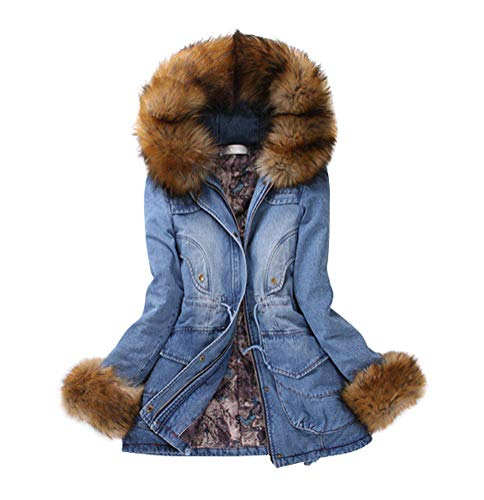 ACE SHOCK Winter Coat Women Denim, Faux Fur Hood Long Cotton Padded Jacket Jeans Parka Blue XS-L (US Size-S)