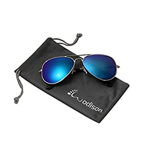 WODISON Classic Kids Aviator Sunglasses Reflective Metal Frame Children Eyeglass Silver Frame Blue Mix Green Lens