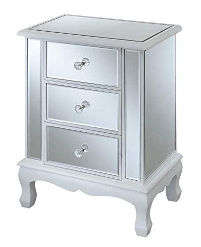 Convenience Concepts Gold Coast Vineyard 3 Drawer Mirrored End Table, White (Drawer 3 Painted Chest)