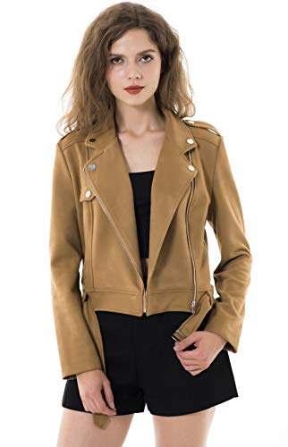 Apperloth Large Jackets for Women Long Sleeve Faux Suede Zipper Short Plus Size Coat