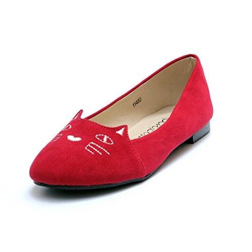 LvYuan-mxx Zapatos de mujer / Primavera verano caída / Casual Dulce y encantador / plano Tacón de punta redonda / Oficina y carrera Vestido / Pisos , 40 , red 36-RED