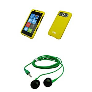 EMPIRE Yellow Rubberized Snap-On Cover Case + Green 3.5mm Stereo Headphones for T-Mobile HTC HD7