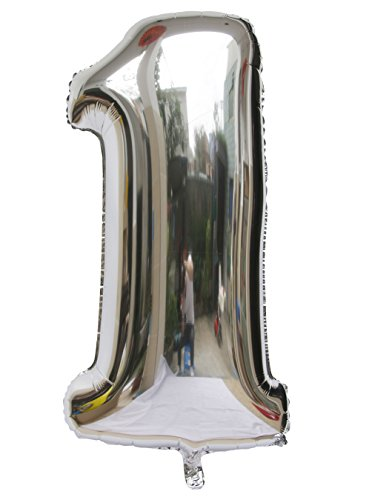 Langxun 40 Number 1 Thickening Silver Air-filled / Helium Foil Balloons for Birthday & Party