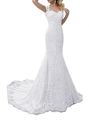 SIQINZHENG White Mermaid Dress Lace Wedding Gowns 2019