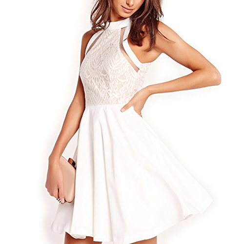 Dreaweet Women's Mesh Vintage Floral Lace Swing Halter Neck Sleeveless Skater Dress White (Rehearsal Dinner Dress)