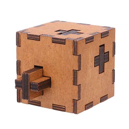 Wood Cross Puzzle - MAGIKON Cross Puzzle Toy, Cross Shape Cube Wooden Secret Puzzle Box Wood Toy Brain Teaser Toy for Kids