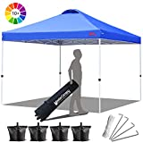 MasterCanopy Compact Canopy 10x10 Ez Pop up Canopy Portable Shade Instant Folding Better Air Circulation Canopy with Wheeled Bag,x4 Canopy Sandbags,x4 Tent Stakes(Blue)