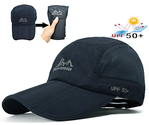 Baseball Cap Quick Dry Travel Hats UPF50+ Cooling Portable Sun Hats for Sports Golf Running Fishing Outdoor Research with Foldable Long Large - Hat With Running