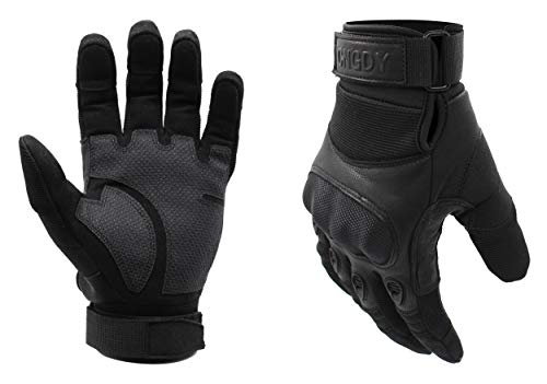 (Adjustable Wrist Military Combat Tactical Gloves Durable Shooting Hiking Hunting Motorcycle Racing Airsoft Gloves Hard Knuckle Army Outdoor Full Finger Black(Size)