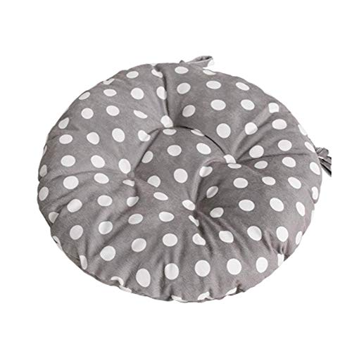 Garden Pad Chair (JINGXIN Round Corduroy Chair Pad Seat Cushion with Ties for Students/Dining Room/Garden Patio - Diameter 16.92 Inch,Grey Dots)