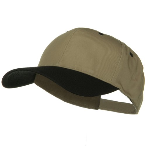 e4Hats.com New Big Size High Profile Twill Cap - Khaki Black OSFM