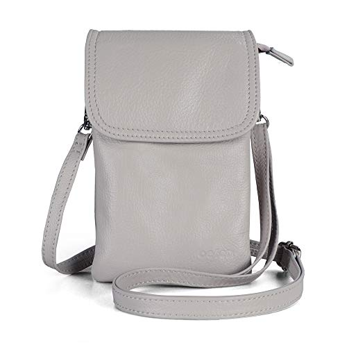- Befen Women Leather Flap Cell Phone Wallet Purse Small Crossbody Pouch Bag with Key Ring (Cloud Gray)