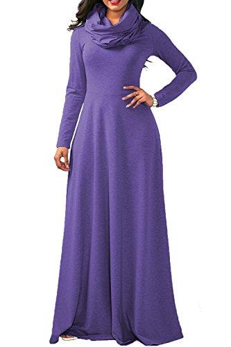 ニュースユーモラス排気YACUN 女性のカジュアルな長いそでカウル首の長い長い冬のスウィングドレス Purple XXL