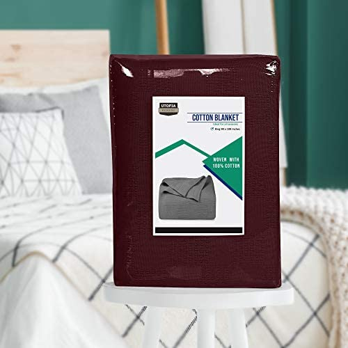 Utopia Bedding Premium Cotton Blanket King Burgundy - Soft Breathable Thermal Blanket 350 GSM - Ideal for Layering Any Bed