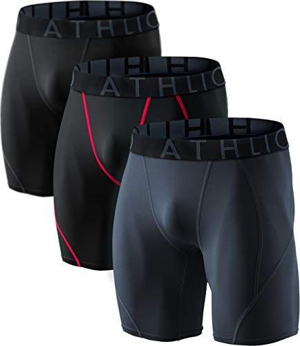 ATHLIO AO-BSP06-KRH_2X-Large Men's (Pack of 3) Cool Dry Compression Active Sports Baselayer Shorts BPS06