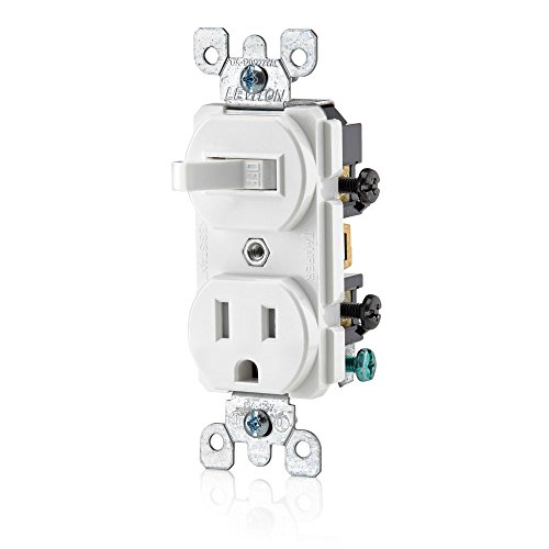Leviton T5225-W Combination, 15 Amp, 120 Volt AC Toggle Switch, and 15amp, 125 Volt 5-15R Tamper Resistant Receptacle, Grounding, White (Toggle Receptacle Duplex)