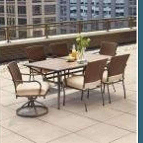 Hampton Bay Pin Oak 7-Piece Wicker Outdoor Dining Set with Oatmeal Cushion (Hampton 7 Piece Set Bay Patio Dining)