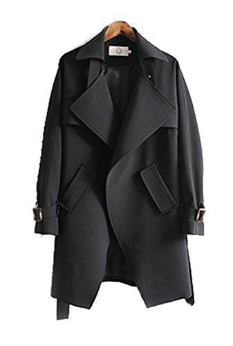 La Sra Sección Larga Capa De La Cintura Del Cordón De Gran Tamaño Capa Fina Multicolor Multi-tamaño,Black-xl